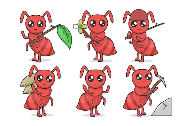 Zestaw ilustracji projekt maskotka owad ładny kawaii mrówki