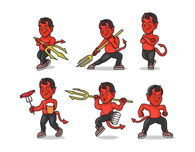 Zestaw ilustracji projekt maskotki diabła szatana lucyfera