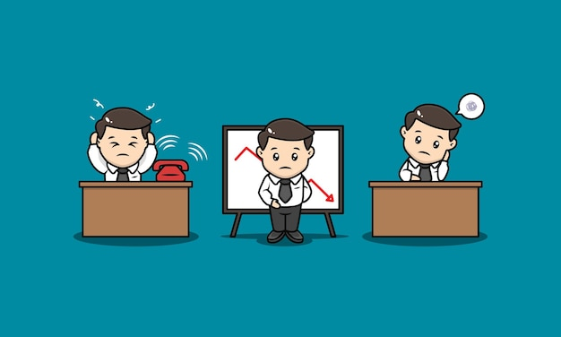 Zestaw ilustracji projekt maskotki zestresowany biznesmen
