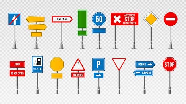Zestaw ilustracji projekt realistyczne znaki drogowe