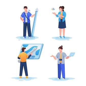 Zestaw ilustracji projektantów