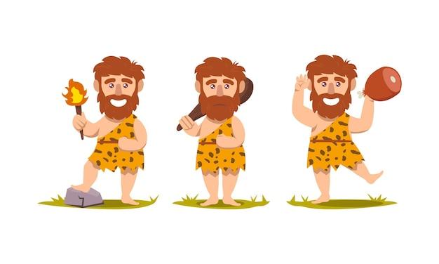 Zestaw ilustracji projektu maskotki prehistorycznej neandertalczyka jaskiniowca