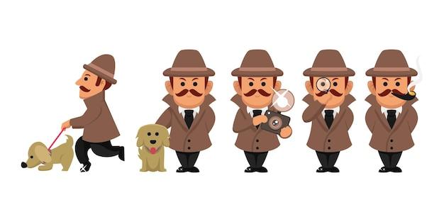 Zestaw ilustracji projektu postaci detektywistycznej
