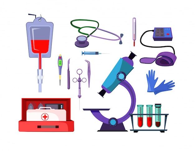 Zestaw ilustracji przedmiotów medycyny