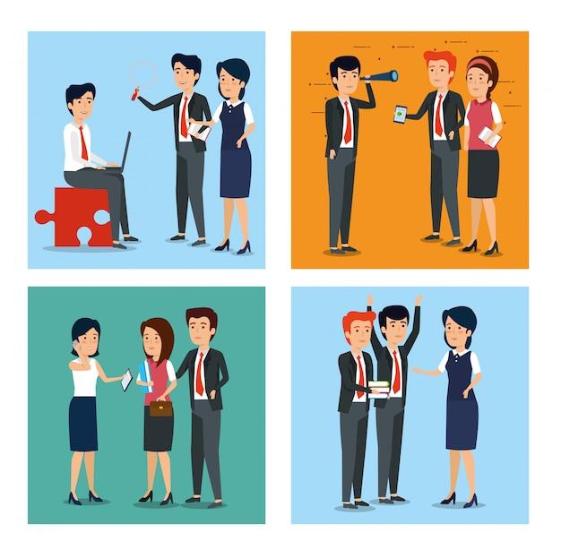 Zestaw ilustracji przedsiębiorców i biznesmenów