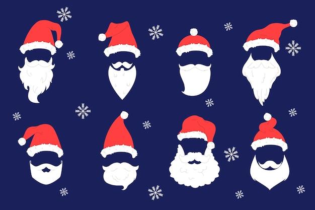 Zestaw ilustracji przedstawiających czerwone i białe kapelusze świętego mikołaja, wąsy i brodę. zestaw wakacyjny z symbolem znaku bożego narodzenia do świątecznej dekoracji
