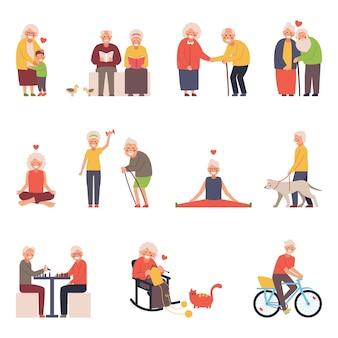 Zestaw ilustracji przedstawiających grupę starców w różnych sytuacjach. dla starszych czas wolny na drutach, joga, sport, spotkania towarzyskie.
