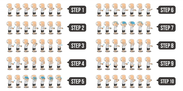Zestaw ilustracji przedstawiających muzułmańskie postacie dziadka, którzy wykonują wudu krok po kroku.