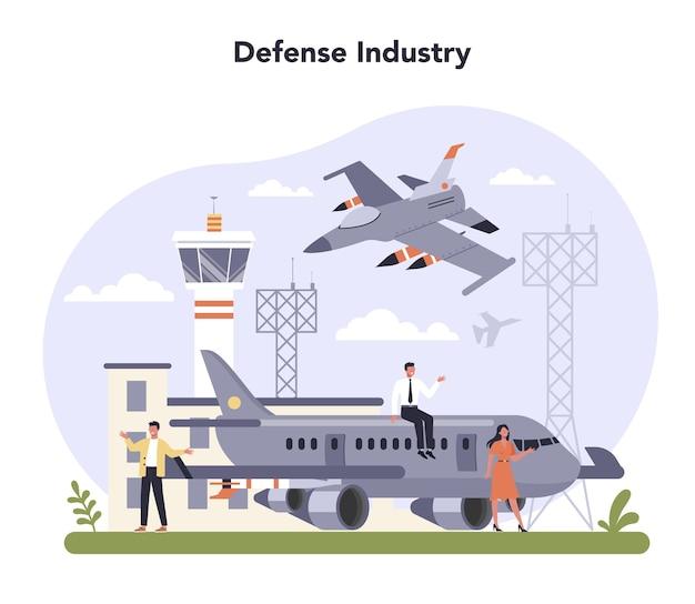 Zestaw ilustracji przemysłu obronnego