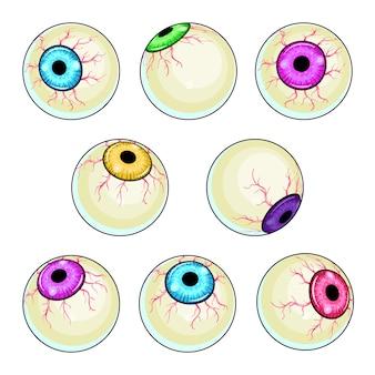 Zestaw ilustracji przerażające oko. halloweenowa straszna kolekcja gałek ocznych
