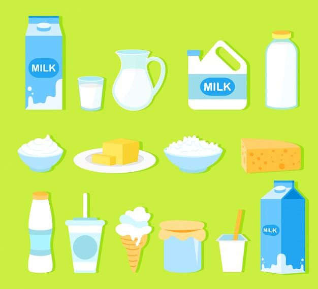 Zestaw ilustracji przetworów mlecznych w stylu cartoon płaski. kolekcja mleka, masła, sera, jogurtu, twarogu, śmietany, lodów, śmietany, na białym tle na zielonym tle.