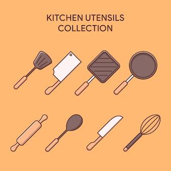 Zestaw ilustracji przyborów kuchennych