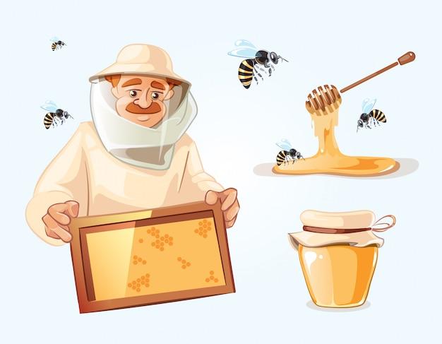 Zestaw ilustracji pszczelarz