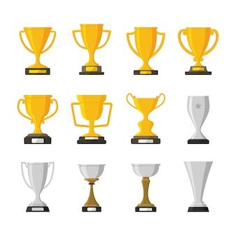 Zestaw ilustracji puchar zwycięzcy nagrody trofeum zwycięzcy