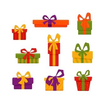 Zestaw ilustracji pudełka na prezenty świąteczne. na białym tle na białym tle wektor kolorowe kreskówki płaskie elementy. wesołych świąt i szczęśliwego nowego roku projekt kartek, plakatów, banerów