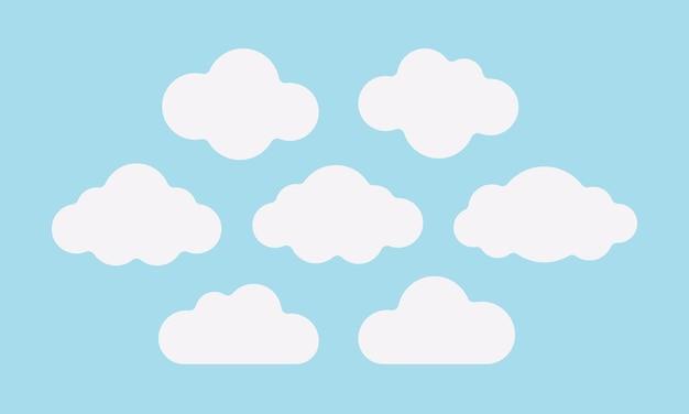 Zestaw ilustracji puszyste białe chmury