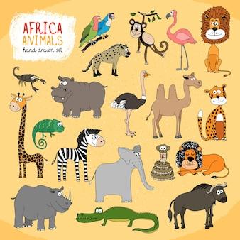Zestaw ilustracji ręcznie rysowane zwierzęta afryki
