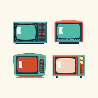 Zestaw ilustracji retro tv