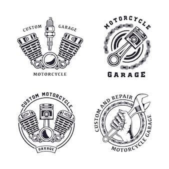 Zestaw ilustracji rocznika godło motocykla