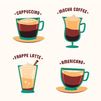 Zestaw ilustracji rocznika kawy typów