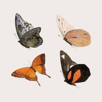 Zestaw ilustracji rocznika motyla