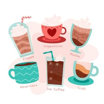 Zestaw ilustracji rodzajów kawy