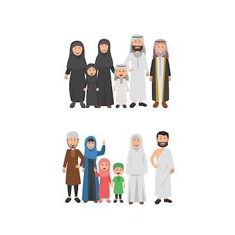 Zestaw ilustracji rodziny arabskiej