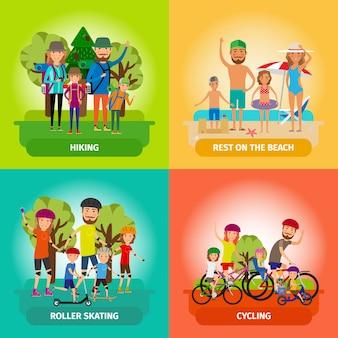 Zestaw ilustracji rodziny lub zdrowego stylu życia w stylu płaski. jazda na rolkach i plaża, jazda na łyżwach i rowerze, turystyka i sport.
