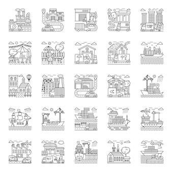 Zestaw ilustracji rolnictwa
