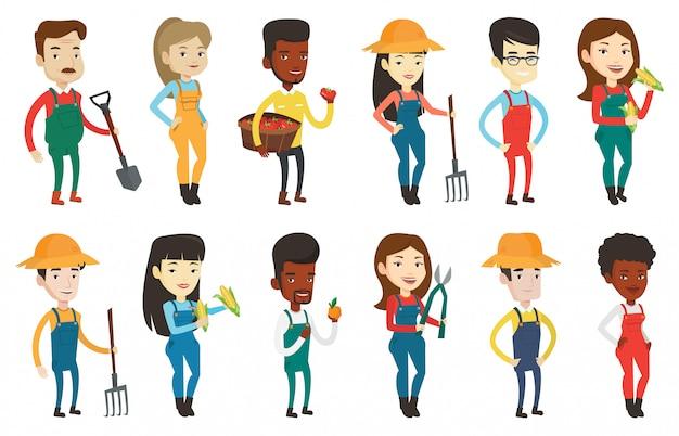 Zestaw ilustracji rolnych z rolnikami.