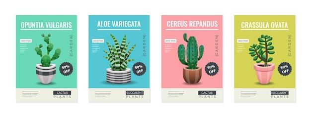 Zestaw ilustracji roślin kaktusowych