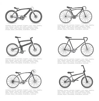 Zestaw ilustracji rowerów. transport dla zdrowego stylu życia. projekt roweru. wycieczki na zewnątrz
