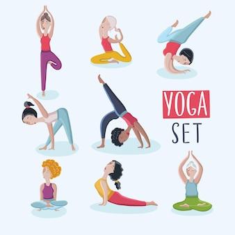 Zestaw ilustracji różnego rodzaju kobiet kreskówka robi ćwiczenia jogi