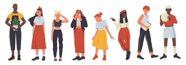 Zestaw ilustracji różnorodności młodych ludzi dorywczo. postacie z kreskówek płaskie dziewczyny facet w nowoczesnym stroju codziennym stojącym w rzędzie, zróżnicowana grupa stylowego mężczyzny i kobiety na białym tle