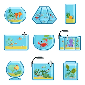 Zestaw ilustracji różnych akwariów