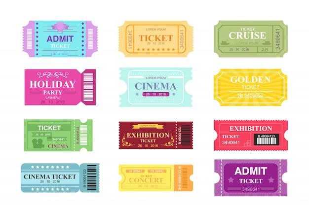 Zestaw ilustracji różnych biletów do kina, kina i cyrku. kolekcja kolorowych i jasnych biletów