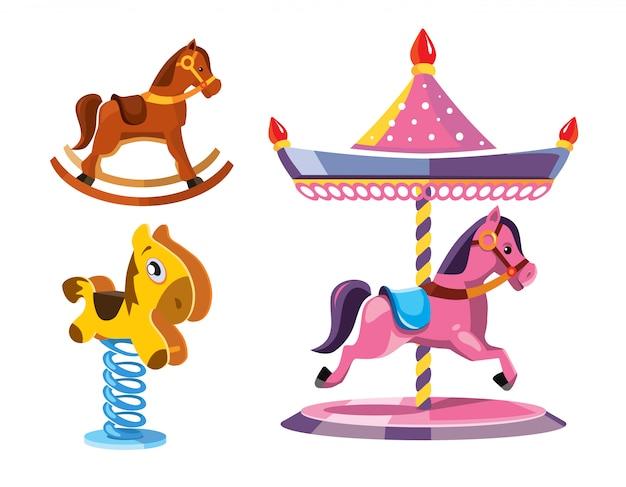 Zestaw ilustracji różnych małych koni na biegunach