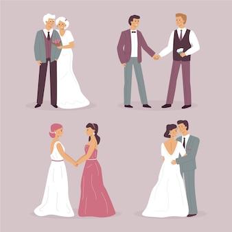 Zestaw ilustracji różnych par ślubnych