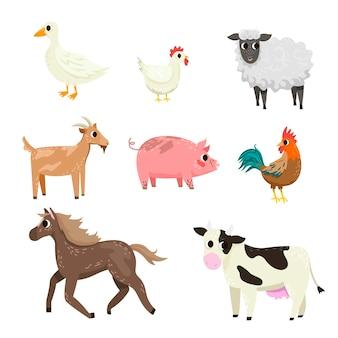 Zestaw ilustracji różnych postaci z kreskówek zwierząt gospodarskich