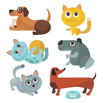 Zestaw ilustracji różnych zwierząt domowych płaska konstrukcja