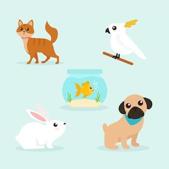Zestaw ilustracji różnych zwierząt domowych