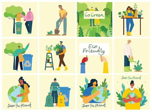 Zestaw ilustracji ruchu zero odpadów