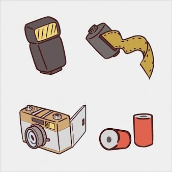 Zestaw ilustracji rysunek ręka aparat analogowy