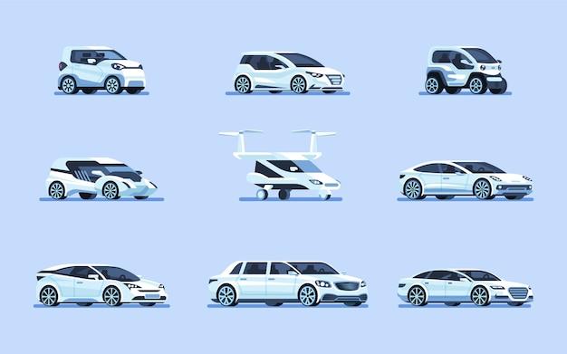 Zestaw ilustracji samochodów autonomicznych