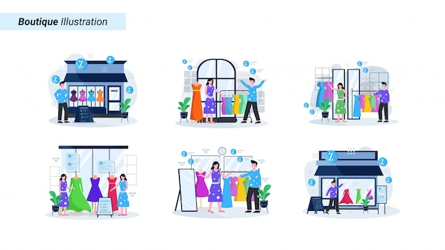 Zestaw ilustracji sklepu odzieżowego i butiku z ludźmi zajmującymi się kupnem odzieży i akcesoriów