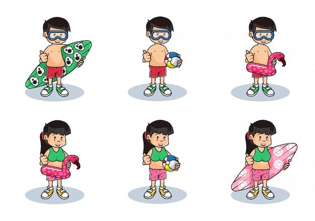 Zestaw ilustracji słodkich chłopców i dziewcząt z letnimi zajęciami na plaży