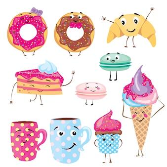 Zestaw ilustracji słodkie desery