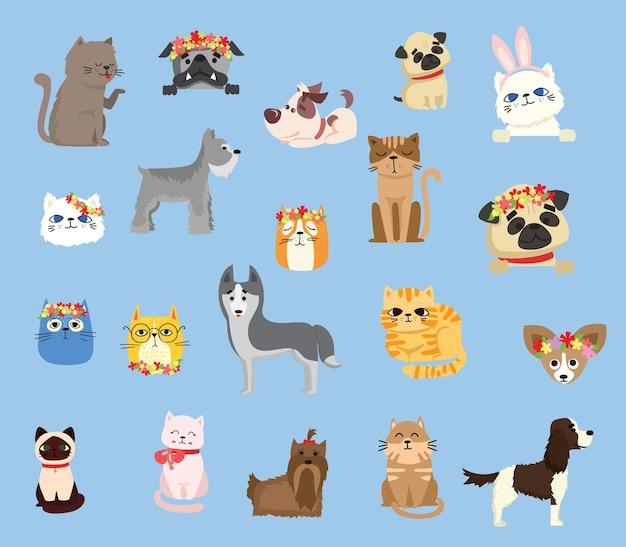 Zestaw ilustracji słodkie i zabawne postaci z kreskówek dla zwierząt domowych.
