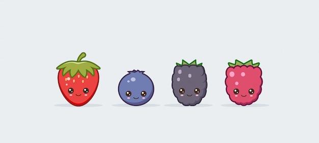 Zestaw ilustracji słodkie kawaii jagody