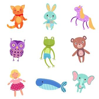 Zestaw ilustracji słodkie kolorowe miękkie pluszowe zabawki dla zwierząt
